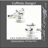 Men's Cufflinks- Sterling Silver Chess Knights