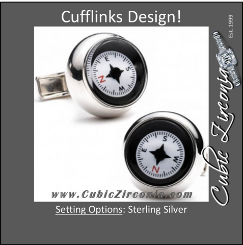 Men's Cufflinks- 3D Sterling Silver Compass Design (Functional)