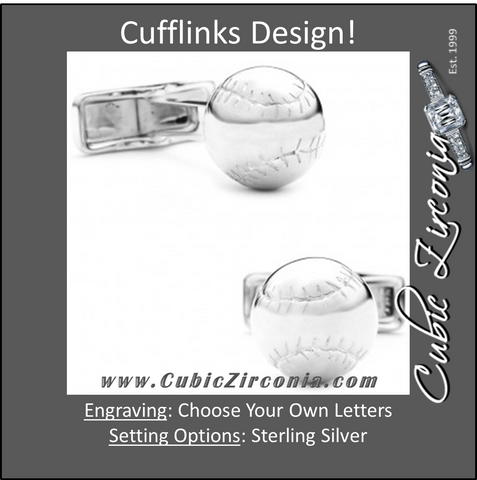 Men's Cufflinks- Sterling Silver Baseballs