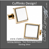 Men's Cufflinks- Two Tone Silver and Yellow Gold Plated Squares with Rope Border