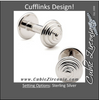 Men's Cufflinks- Sterling Silver Weightlifter Barbells