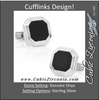 Men's Cufflinks- Black Octagon-Cut Onyx Opus Style with Sterling Silver Frame