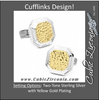 Men's Cufflinks- Two Toned Opus Sterling Silver with Yellow Gold Plating