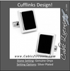 Men's Cufflinks- Silver Plated with Genuine Onyx (JFK Presidential)