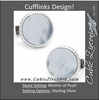 Men's Cufflinks- Sterling Silver Round Scaled with Blue Mother of Pearl