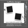 Men's Cufflinks- Sterling Silver Square Frame with Laser-Etched Black Onyx