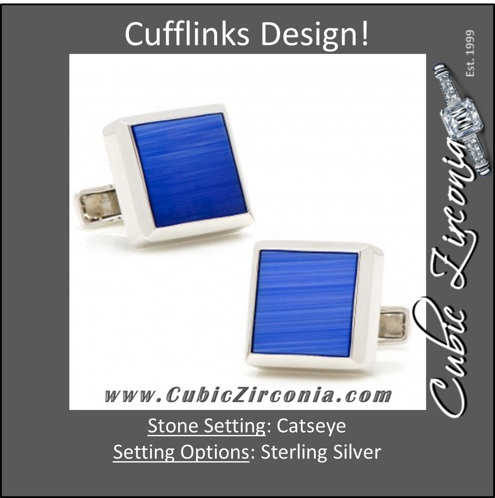 Men's Cufflinks- Sterling Silver with Brilliant Flat Blue Catseye