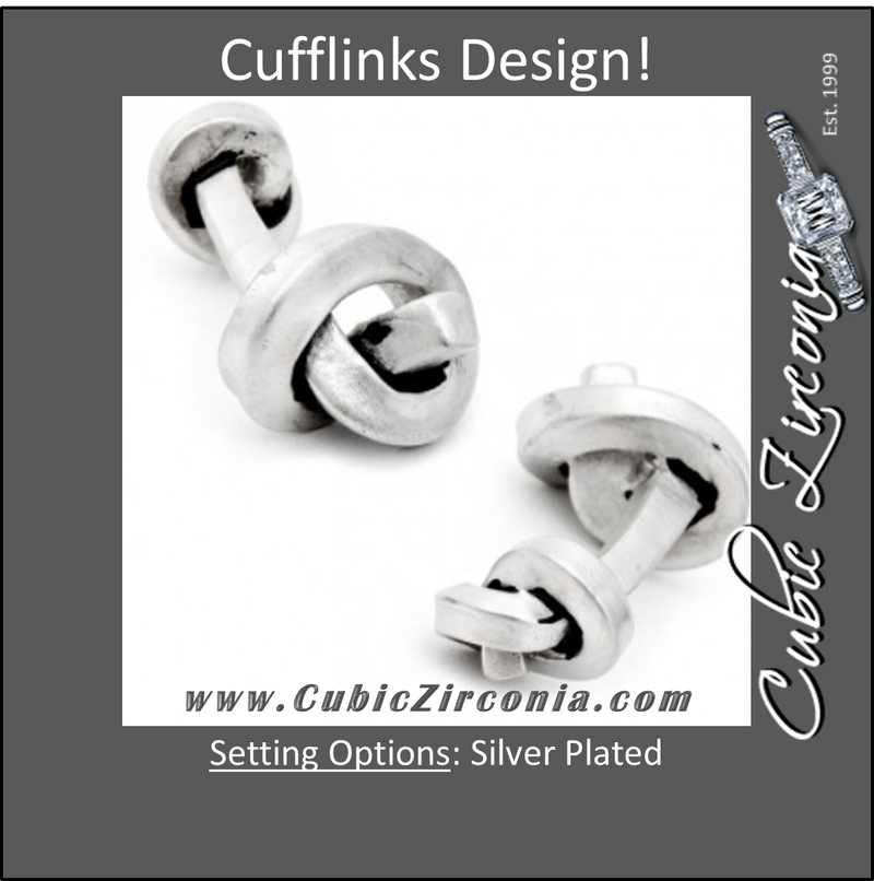 Men's Cufflinks- Double-sided Antique Style Silver Plated Rail Knots