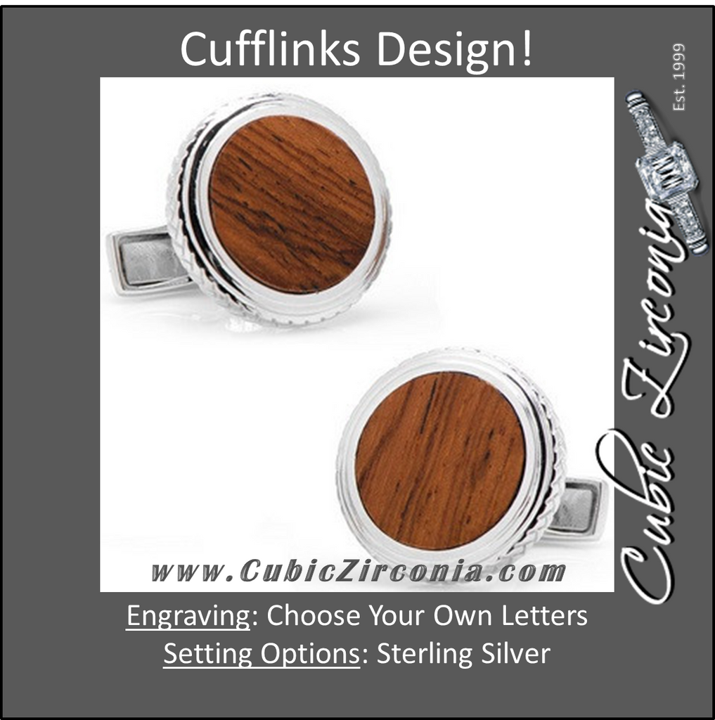 Men's Cufflinks- Sterling Silver Opus Style Set with Honduran Rosewood