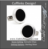 Men's Cufflinks- Sterling Silver Round Opus Style Set with Genuine Onyx
