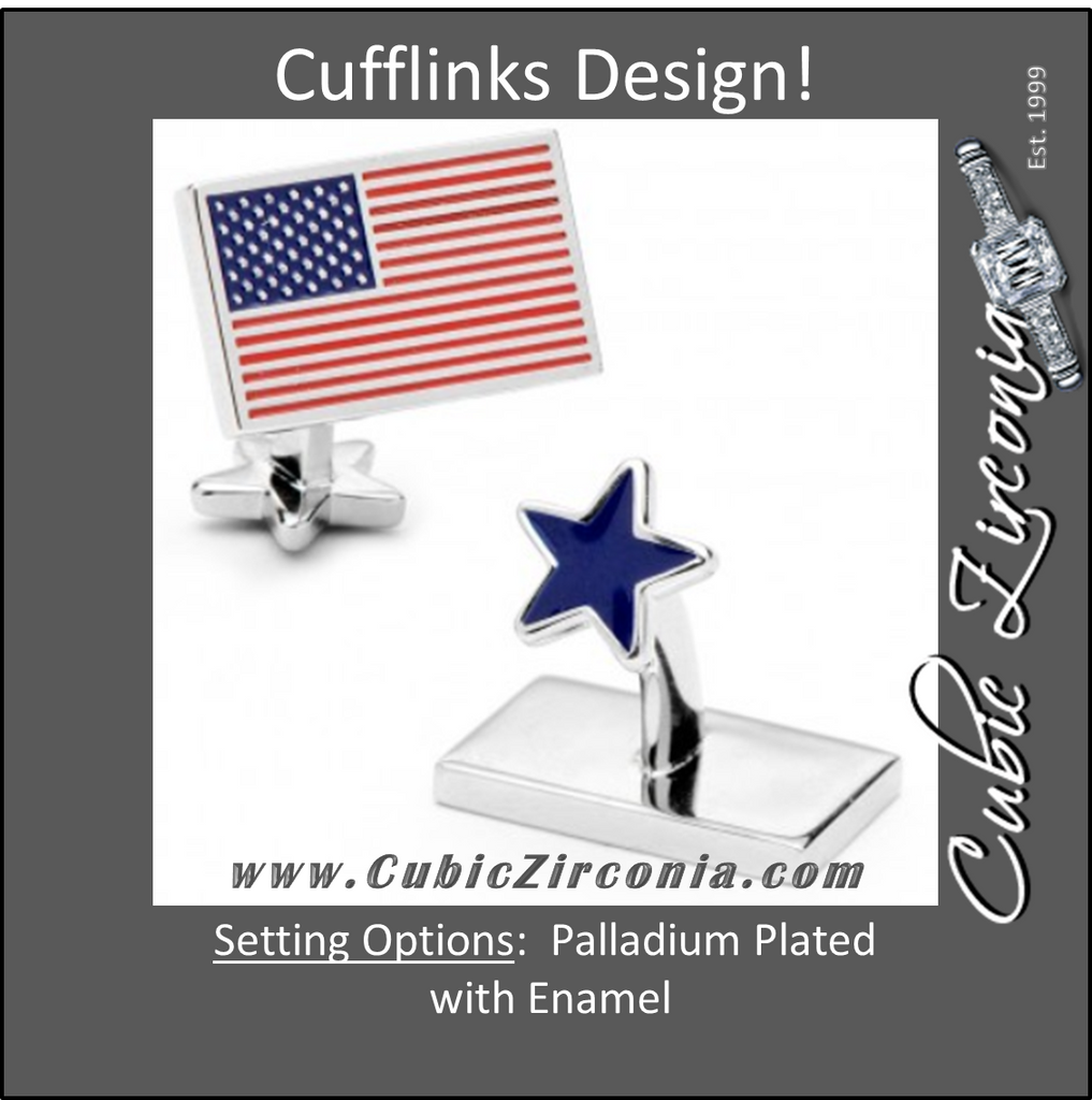 Men's Cufflinks- Palladium Plated USA Flag and Star
