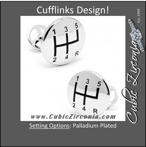 Men's Cufflinks- Palladium Plated Gear Shifter with Steering Wheel Backing