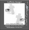 Men's Cufflinks- Sterling Silver Cross