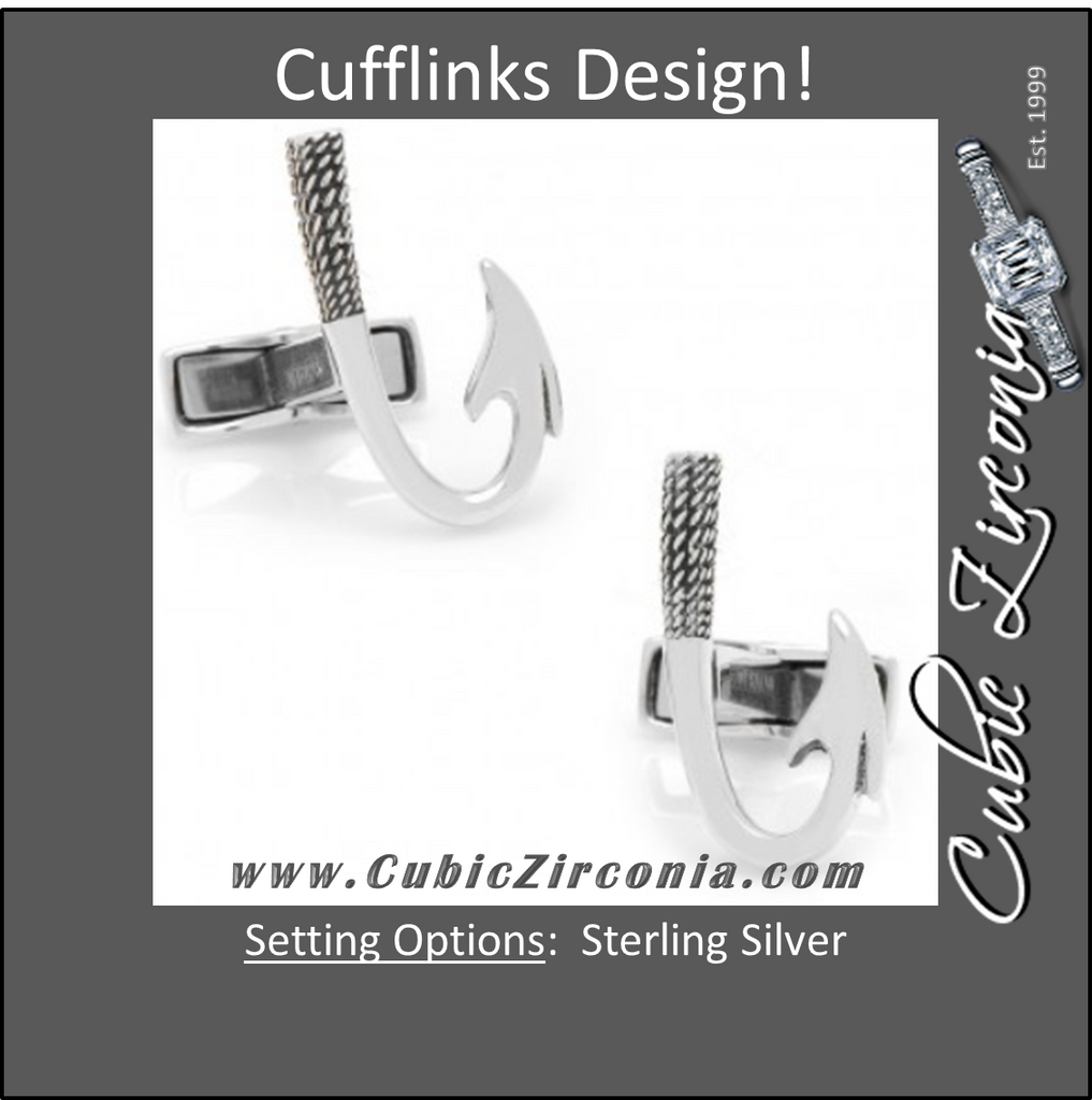 Men's Cufflinks- Sterling Silver Fish Hooks