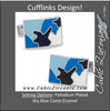 Men's Cufflinks- Palladium Plated Sky Blue Camo