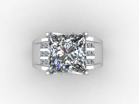 Cubic Zirconia Engagement Ring-*Clearance* The Patricia (4.84 TCW* Bridge Style Triple Channel Ultra-Wide Band in Sterling Silver)