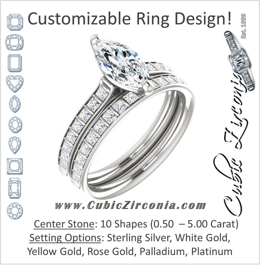 CZ Wedding Set, Style 04-30 feat The Gloria engagement ring (Customizable Princess Channel)