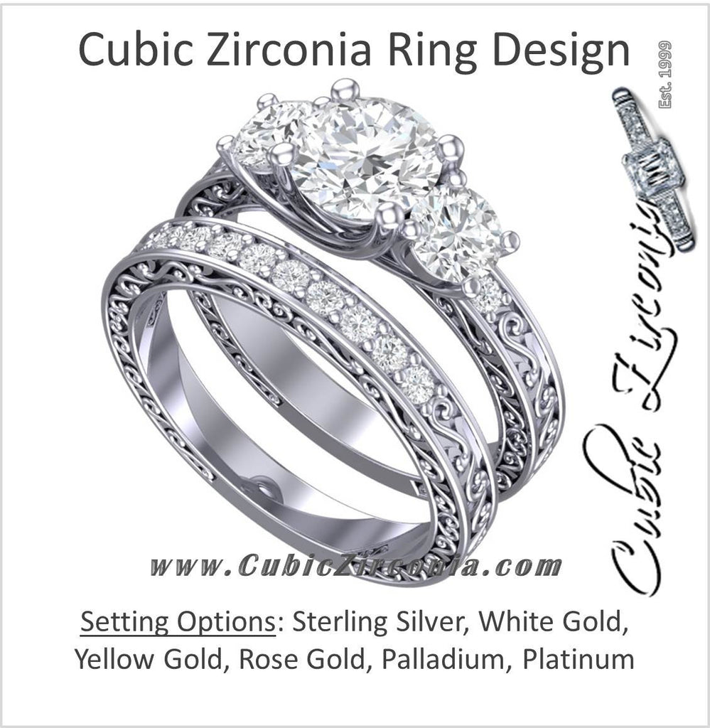 CZ Wedding Set, Style 24-12 feat The Adele Elise engagement ring (Three-Stone Round Cut with Filigree Accented Band)