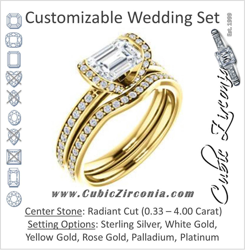 CZ Wedding Set, featuring The Victoria engagement ring (Customizable Bezel-set Radiant Cut Semi-Halo Design with Prong Accents)