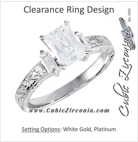 Cubic Zirconia Engagement Ring- The Abigail (1.26 CT Emerald-Cut with Baguette Accents and Hand-Engraved Band)