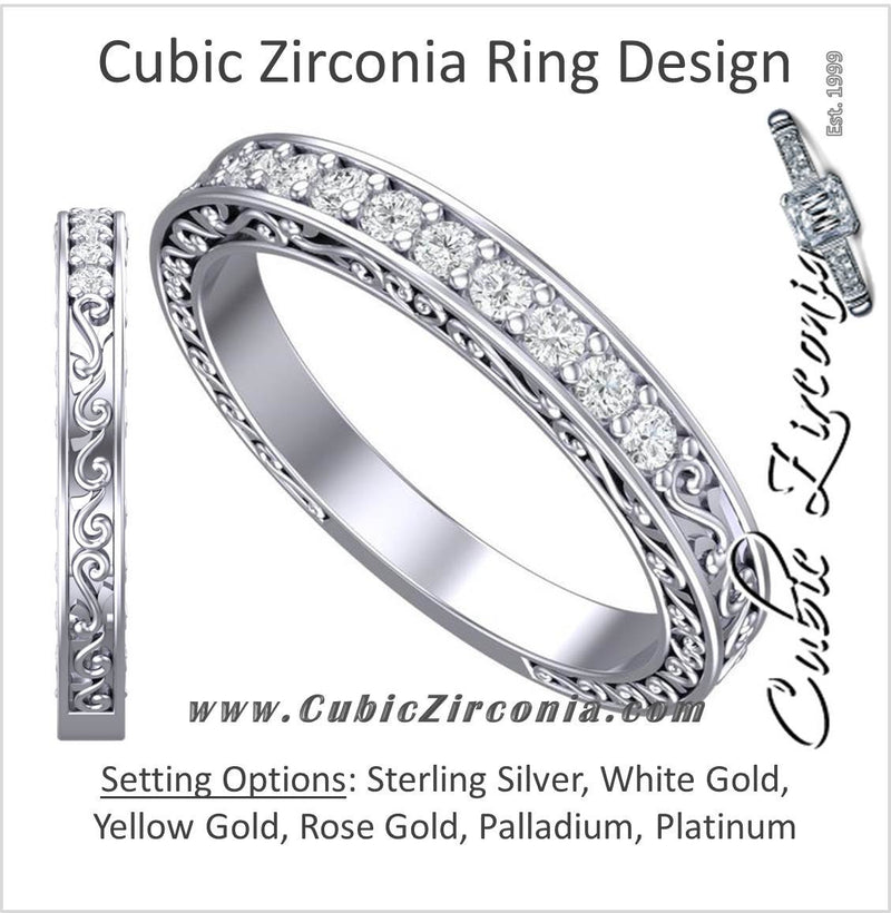 Cubic Zirconia Anniversary Ring Band, Style 24-12 (0.135 TCW Round Filigree)