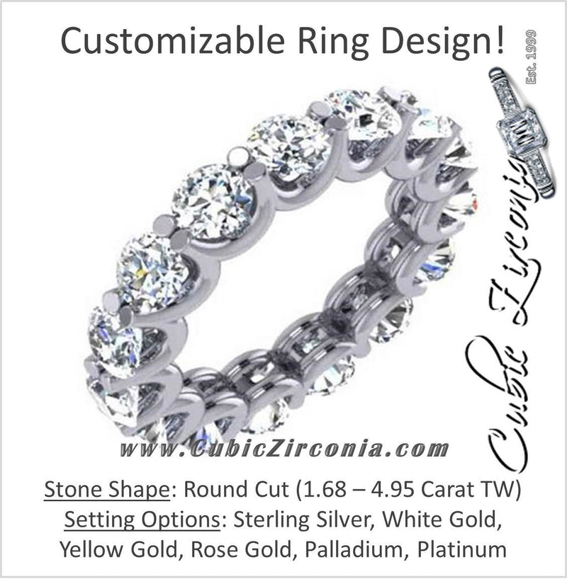 Cubic Zirconia Anniversary Ring Band, Style 42-58 (Customizable Round Shared Prong Eternity)
