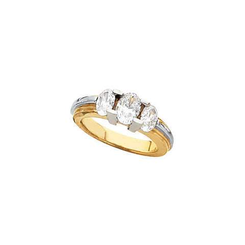 Cubic Zirconia Engagement Ring- The Olivia (0.50-0.75 CT  Triple Oval Cut Setting with Two-Tone Metals)