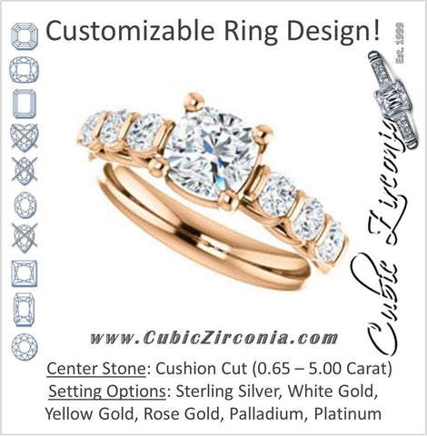 Cubic Zirconia Engagement Ring- The Adamari (Customizable 7-stone Cushion Cut Style with Round Bar-set Accents)