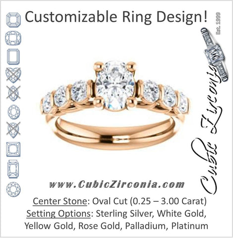 Cubic Zirconia Engagement Ring- The Adamari (Customizable 7-stone Oval Cut Style with Round Bar-set Accents)