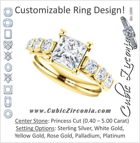 Cubic Zirconia Engagement Ring- The Adamari (Customizable 7-stone Princess Cut Style with Round Bar-set Accents)