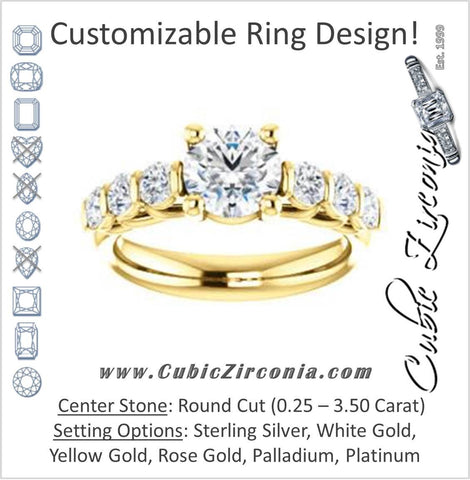 Cubic Zirconia Engagement Ring- The Adamari (Customizable 7-stone Round Cut Style with Round Bar-set Accents)