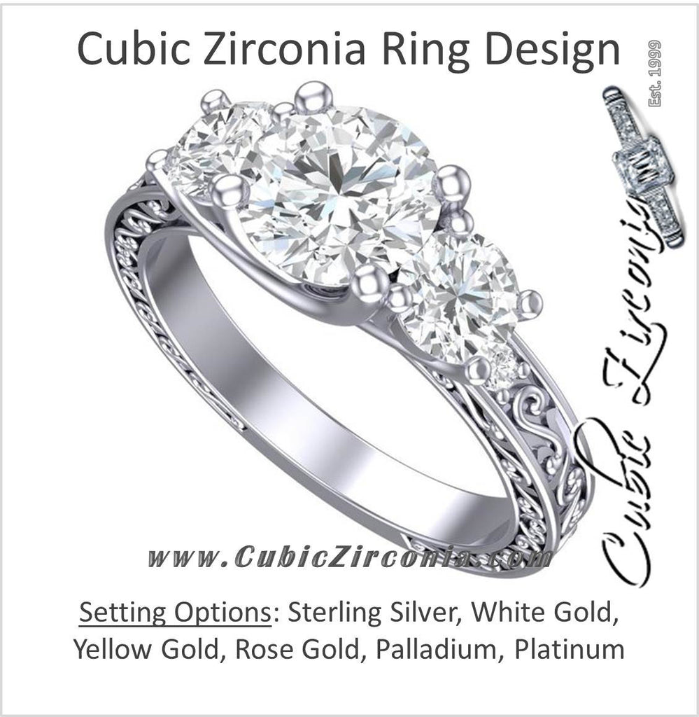 Cubic Zirconia Engagement Ring- The Adele Elise (Three-Stone Round Cut with Filigree Accented Band)