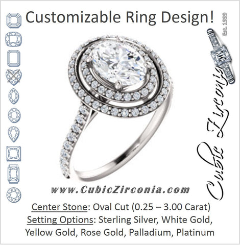 Cubic Zirconia Engagement Ring- The Alisa (Customizable Oval Cut with Geometric Double Halo)