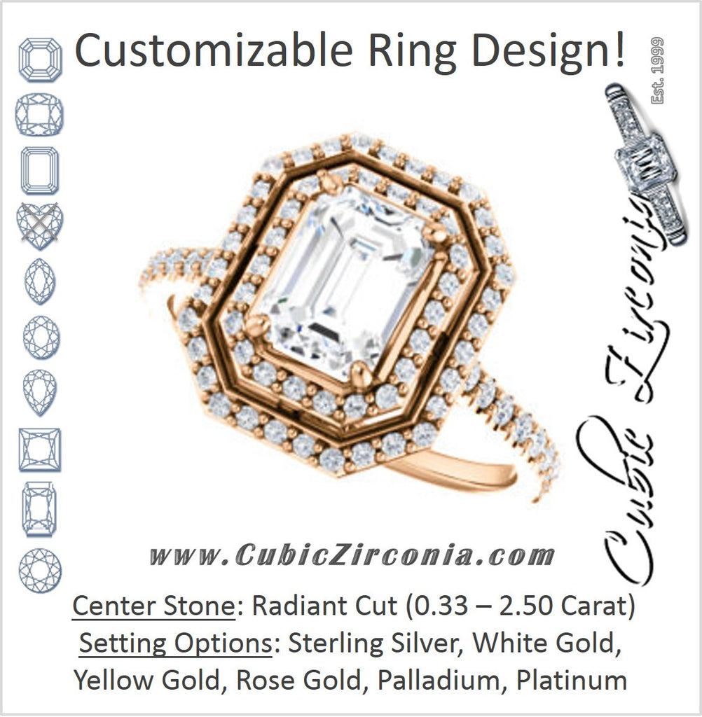 Cubic Zirconia Engagement Ring- The Alisa (Customizable Radiant Cut with Geometric Double Halo)