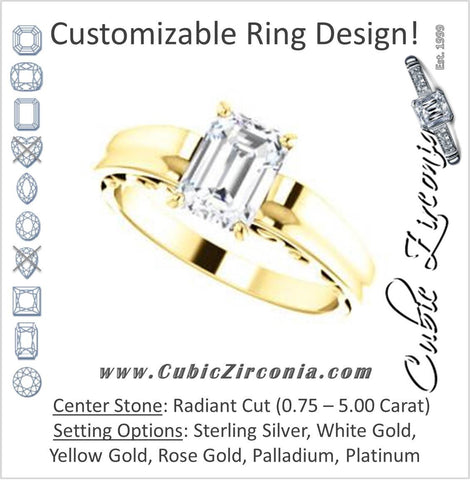 Cubic Zirconia Engagement Ring- The Aliyah Rose (Customizable Radiant Cut Solitaire with Decorative Trellis)