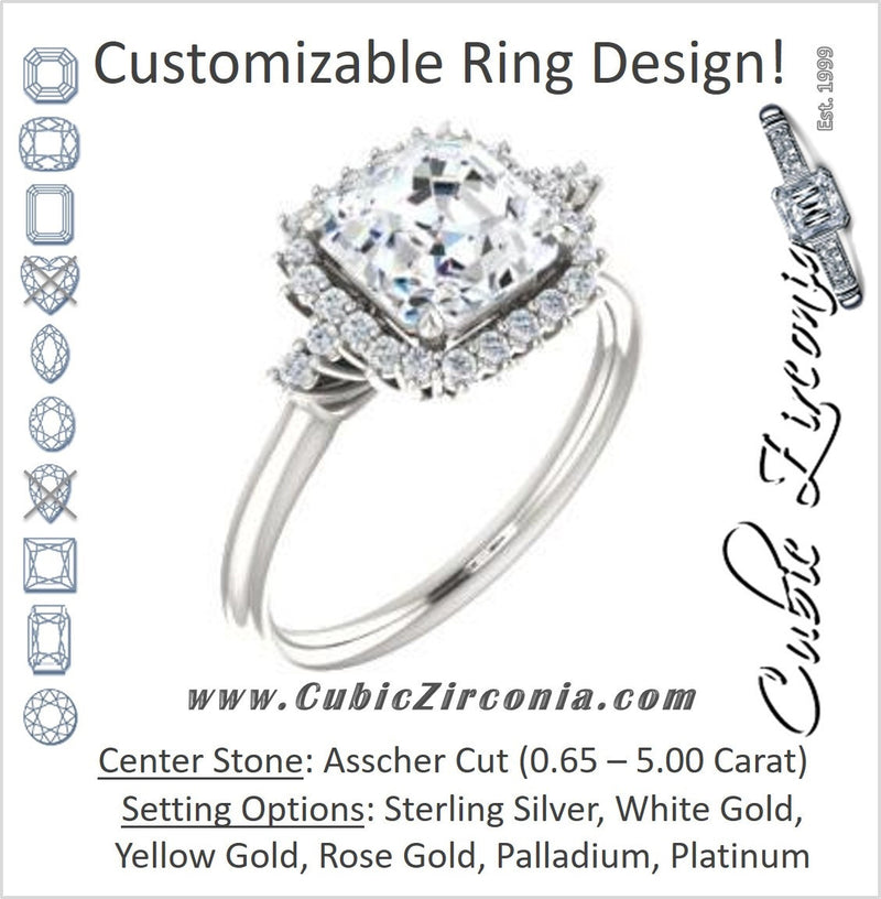 Cubic Zirconia Engagement Ring- The Amy Kiara (Customizable Asscher Cut)