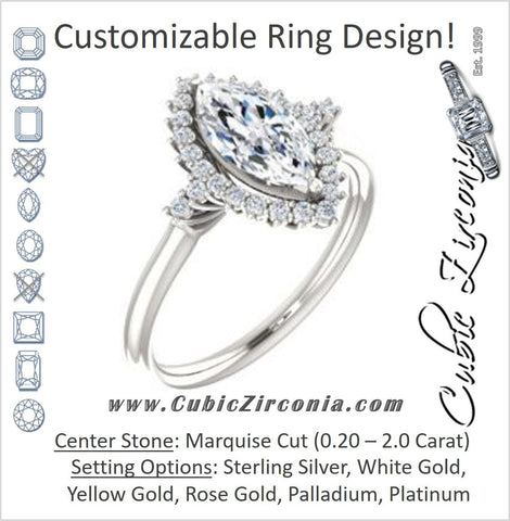 Cubic Zirconia Engagement Ring- The Amy Kiara (Customizable Marquise Cut)