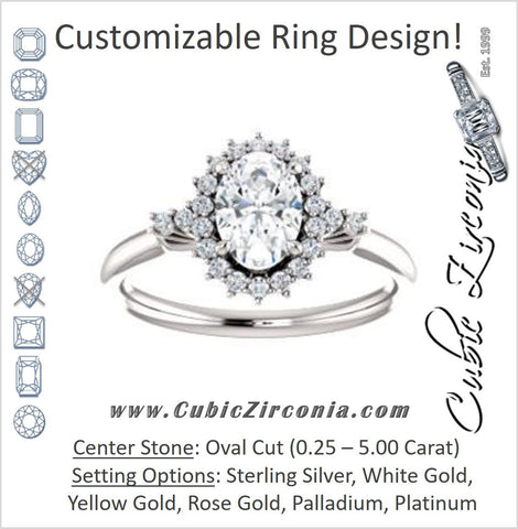 Cubic Zirconia Engagement Ring- The Amy Kiara (Customizable Oval Cut)