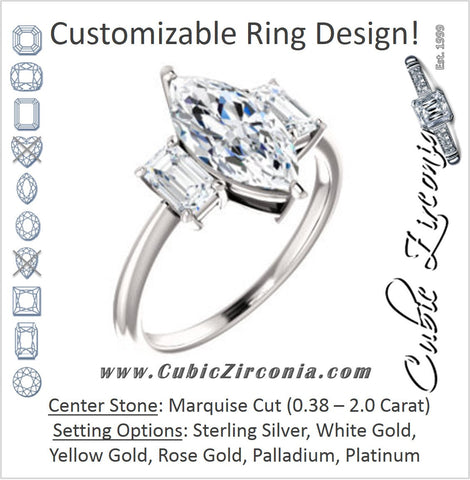 Cubic Zirconia Engagement Ring- The Andrea (Customizable Marquise Cut 3-stone with Dual Emerald Cut Accents)