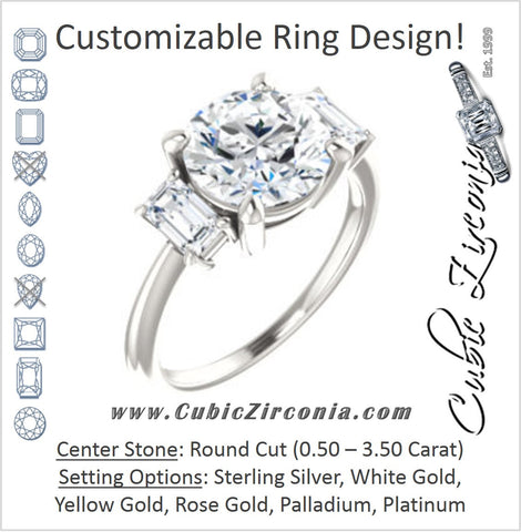 Cubic Zirconia Engagement Ring- The Andrea (Customizable Round Cut 3-stone with Dual Emerald Cut Accents)