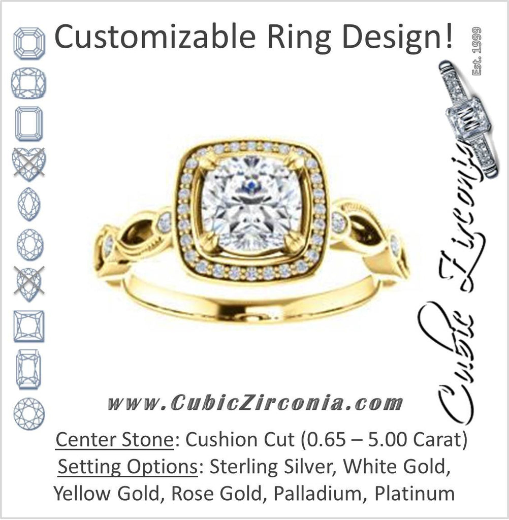 Cubic Zirconia Engagement Ring- The Angela (Customizable Whimsical Sculpture Halo-Style with Cushion Center)