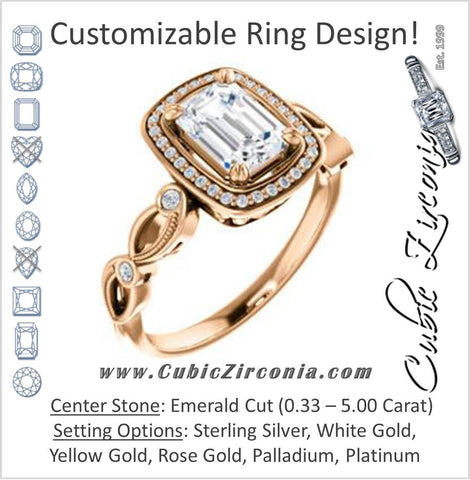 Cubic Zirconia Engagement Ring- The Angela (Customizable Whimsical Sculpture Halo-Style with Emerald Center)