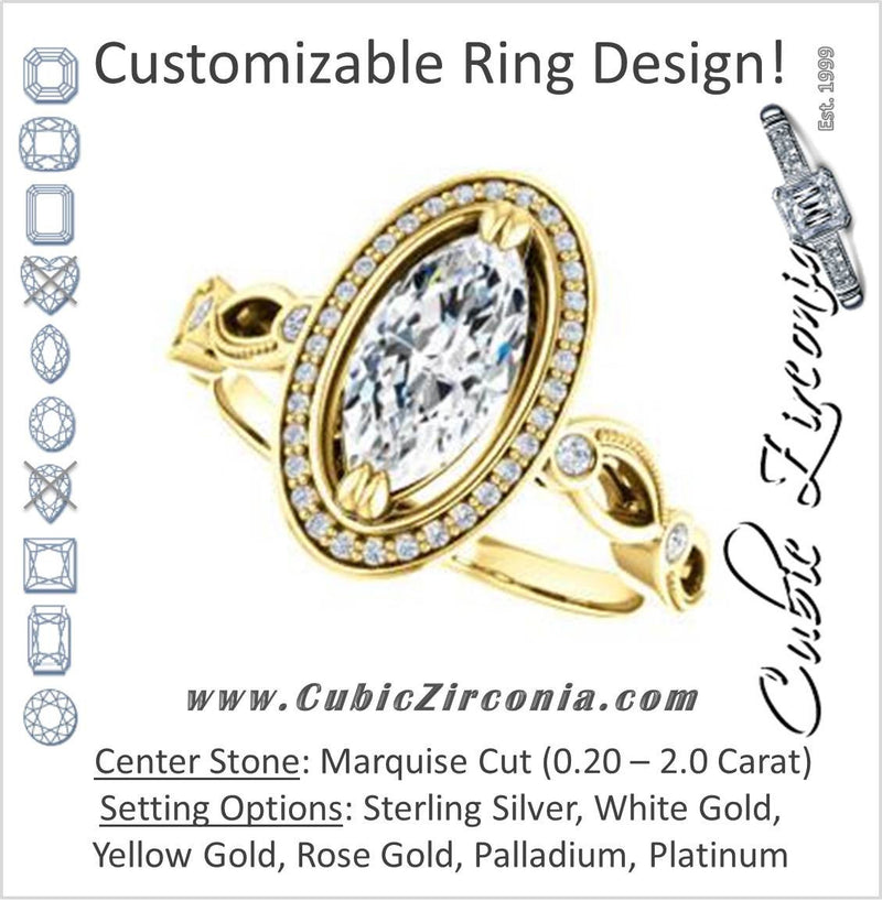 Cubic Zirconia Engagement Ring- The Angela (Customizable Whimsical Sculpture Halo-Style with Marquise Center)