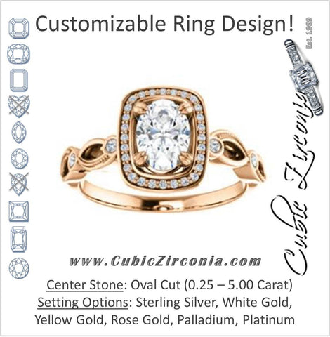 Cubic Zirconia Engagement Ring- The Angela (Customizable Whimsical Sculpture Halo-Style with Oval Center)
