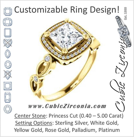 Cubic Zirconia Engagement Ring- The Angela (Customizable Whimsical Sculpture Halo-Style with Princess Center)