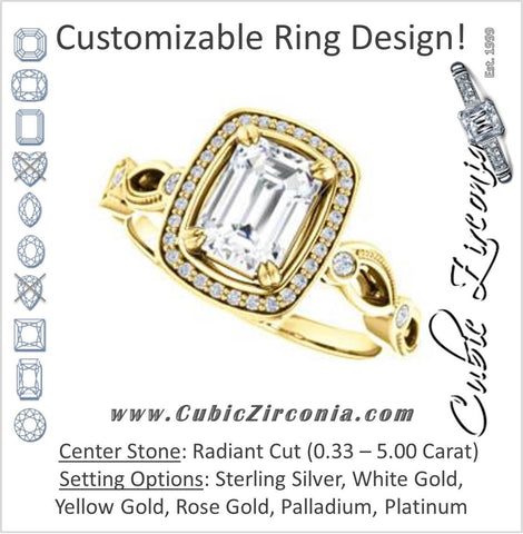 Cubic Zirconia Engagement Ring- The Angela (Customizable Whimsical Sculpture Halo-Style with Radiant Center)