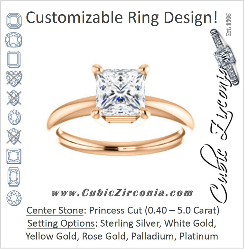 Cubic Zirconia Engagement Ring- The Angelina (Customizable Princess Cut Elevated Solitaire)