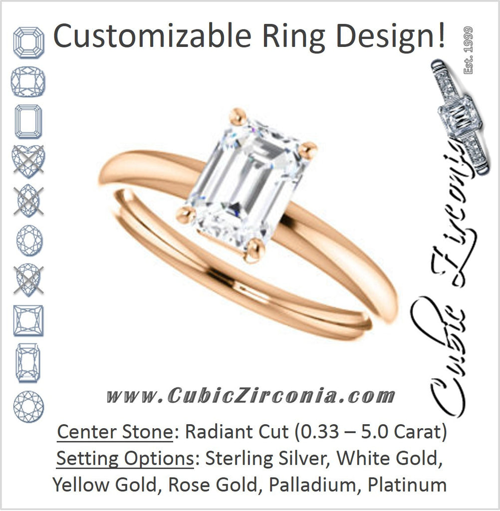Cubic Zirconia Engagement Ring- The Angelina (Customizable Radiant Cut Elevated Solitaire)