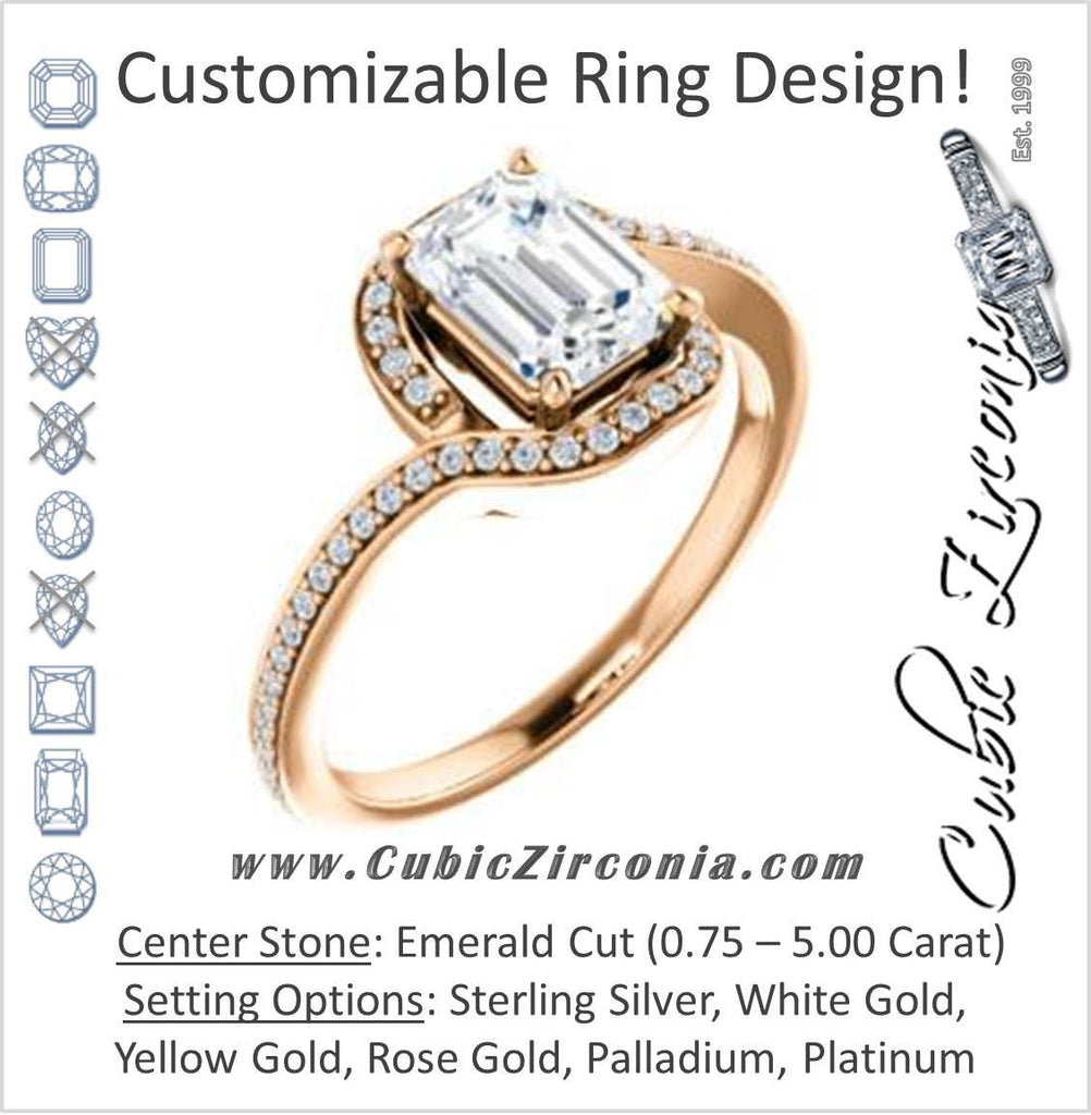 Cubic Zirconia Engagement Ring- The Annalisa (Customizable Emerald Cut Bypass with Twisting Pavé Band)