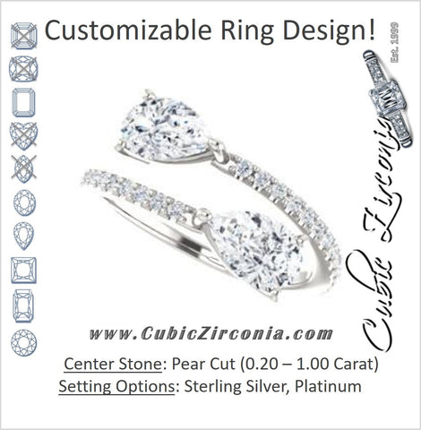 Cubic Zirconia Engagement Ring- The Anniston (Customizable 2-stone Pear Cut Design Enhanced by Artisan Split-Pavé Band)